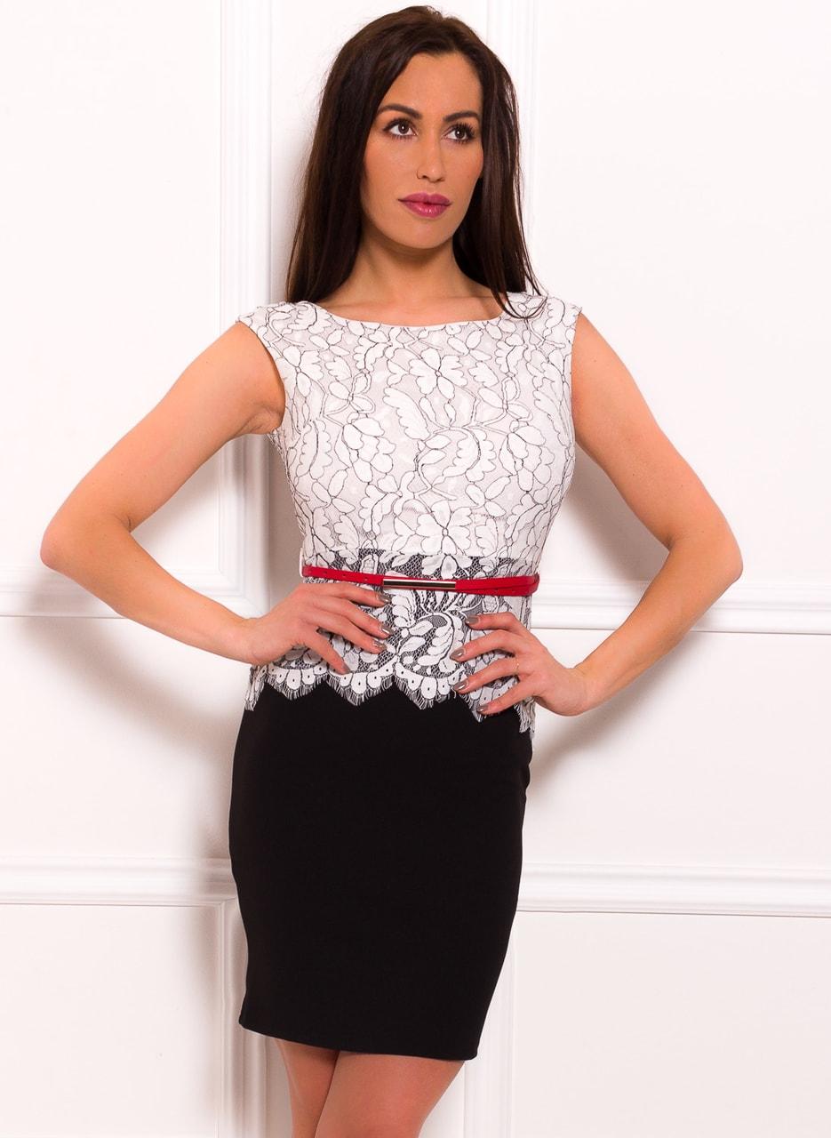 Dámské šaty bílou krajkou a červeným páskem zdarma- černá - Due ... c59a7cb9491
