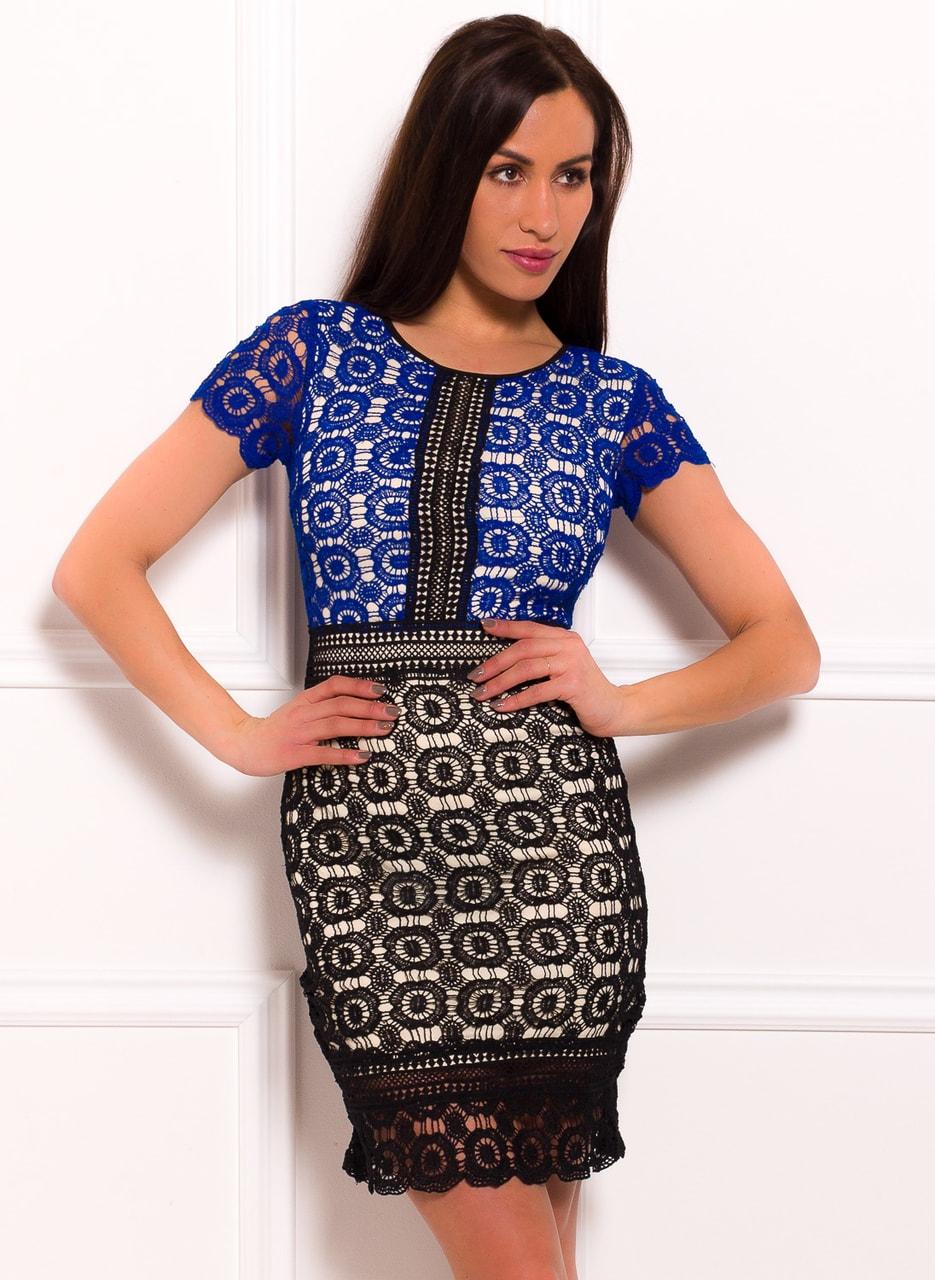 Dámské šaty se vzorem krajky modro - černá - Due Linee - Každodenní ... bdbbab02e5