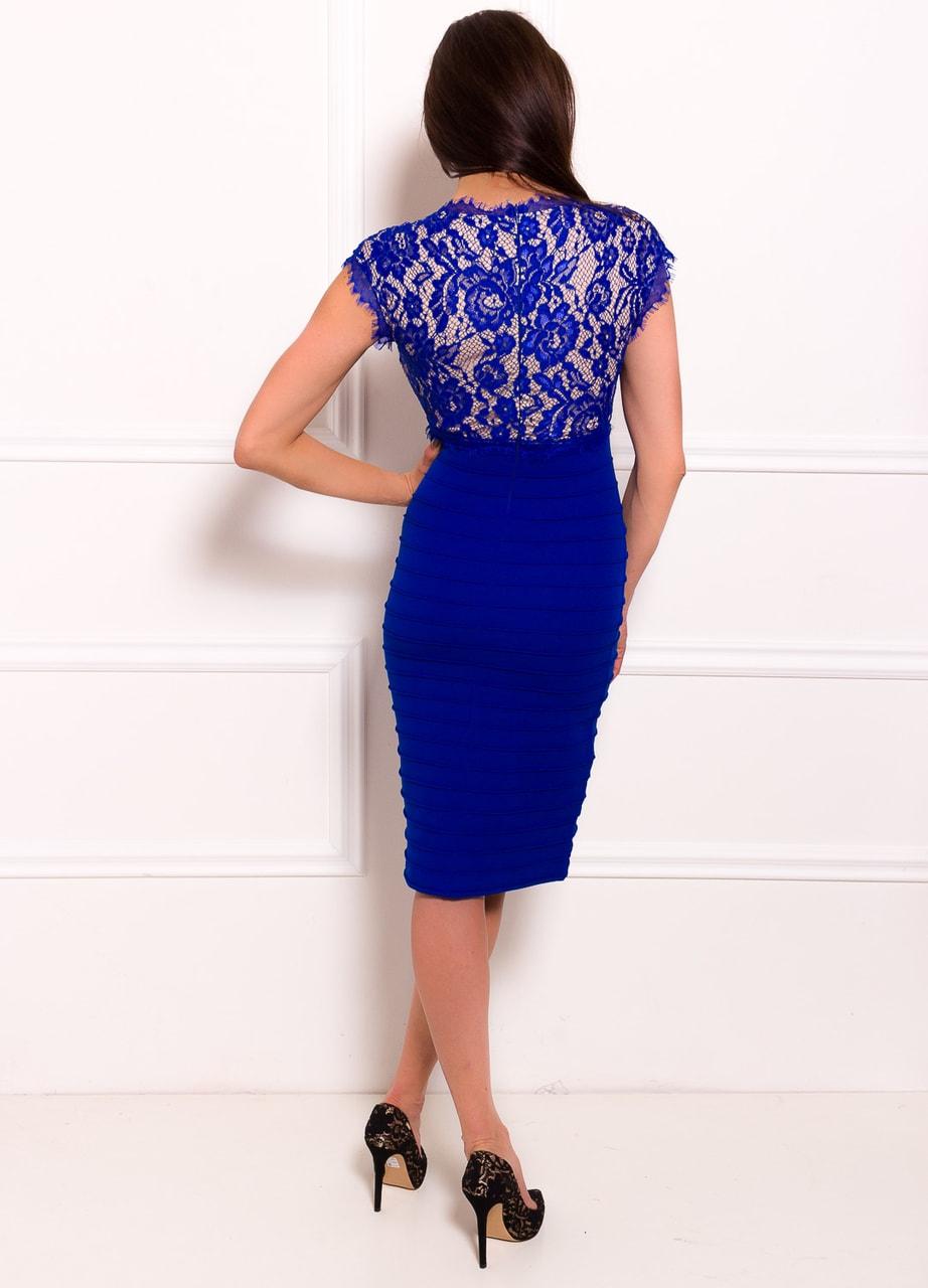Glamadise.sk - Dámské šaty s krajkou elastické královsky modro ... 5a0fe938f4