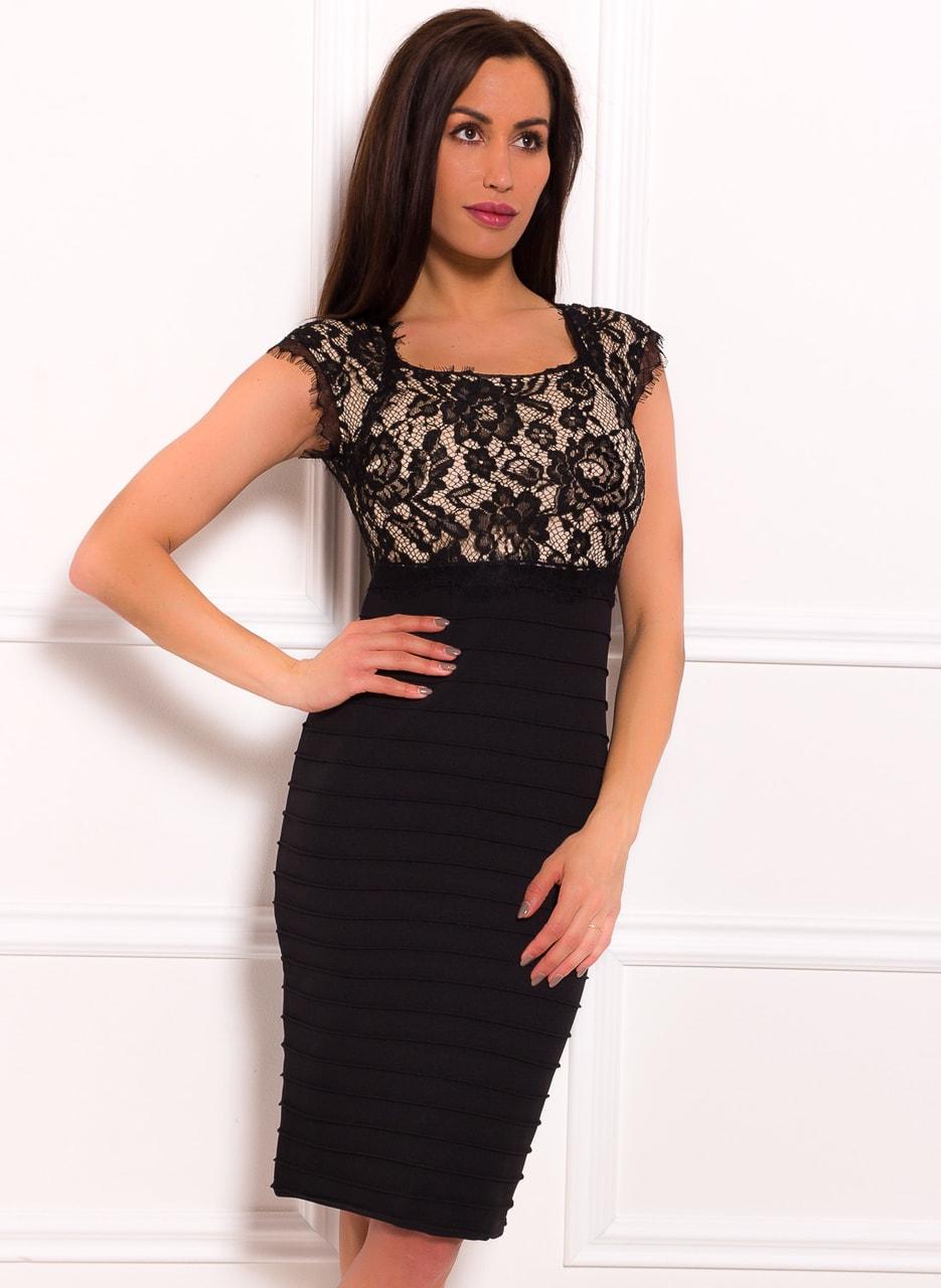 Glamadise.sk - Dámské šaty s krajkou elastické černo - béžové - Due ... 4ef4966ebb3