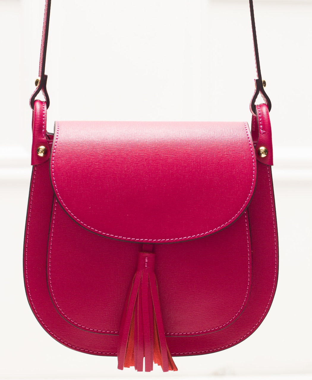 Dámská kožená crossbody kabelka ze safiánové kůže - fuchsiová ... b1e74808ae