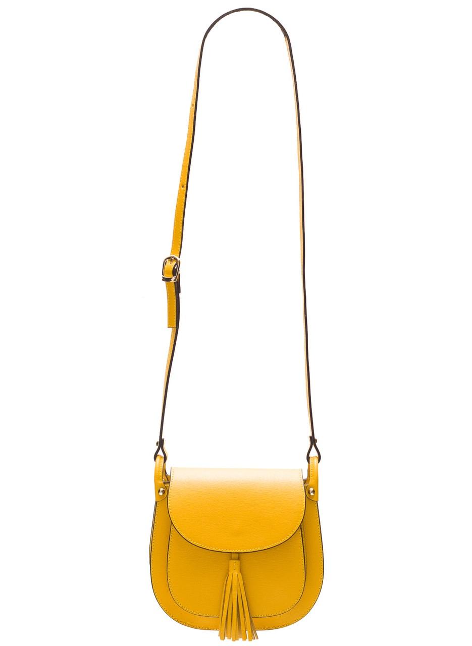 Dámská kožená crossbody kabelka ze safiánové kůže - žlutá ... 59cc76407b