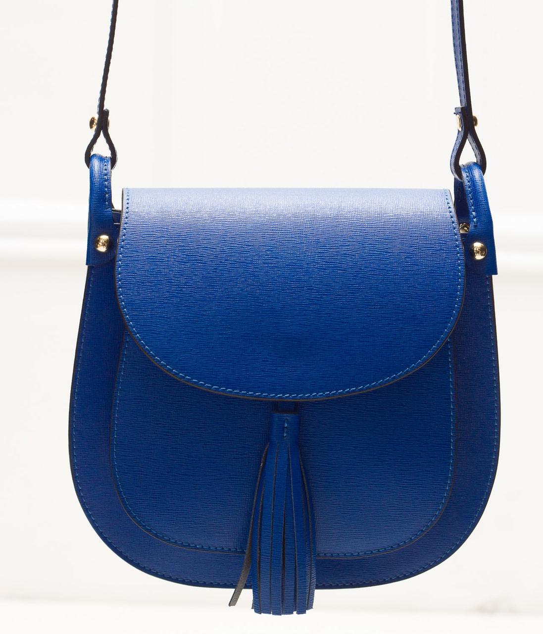 Dámská kožená crossbody kabelka ze safiánové kůže - královsky modrá ... 60b0348f2a