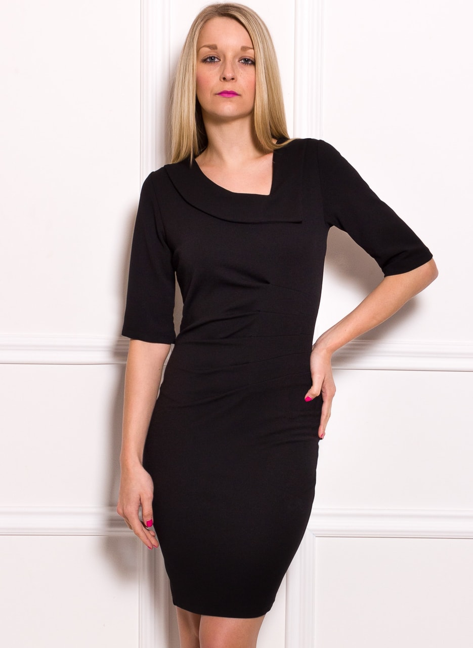 Dámské pouzdrové šaty s rukávem a řasením - černá - Glamorous by ... c31e8406971