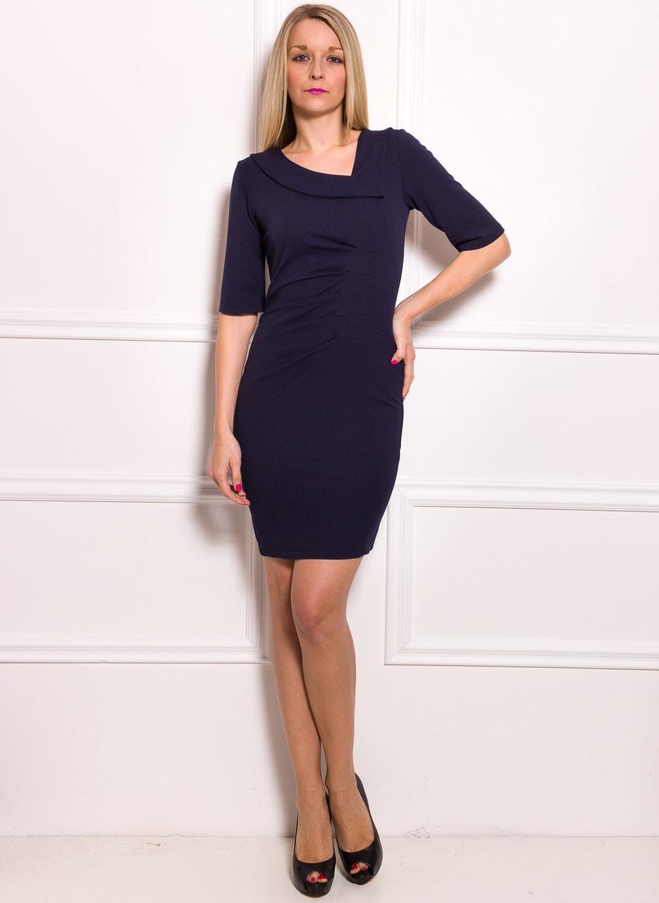 2c92f4cd55a Dámské pouzdrové šaty s rukávem a řasením - modrá - Glamorous by ...