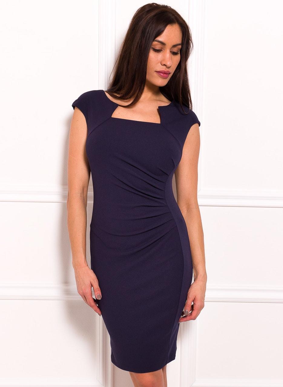 2df9b1c287b Dámské elegantní šaty se zajímavým dekoltem a řasením - tmavě modrá ...