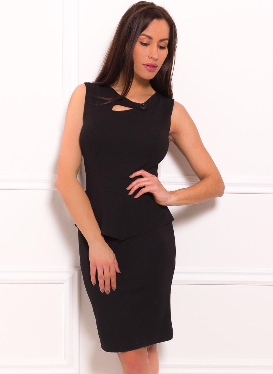 Dámské pouzdrové peplum šaty a knoflíkem - černá - Glamorous by Glam ... b5b59edfbca
