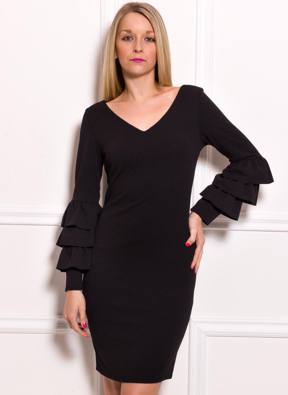 Glamadise.sk - Dámske luxusné šaty s dlhým rukávom a volánmi ... d643c18509