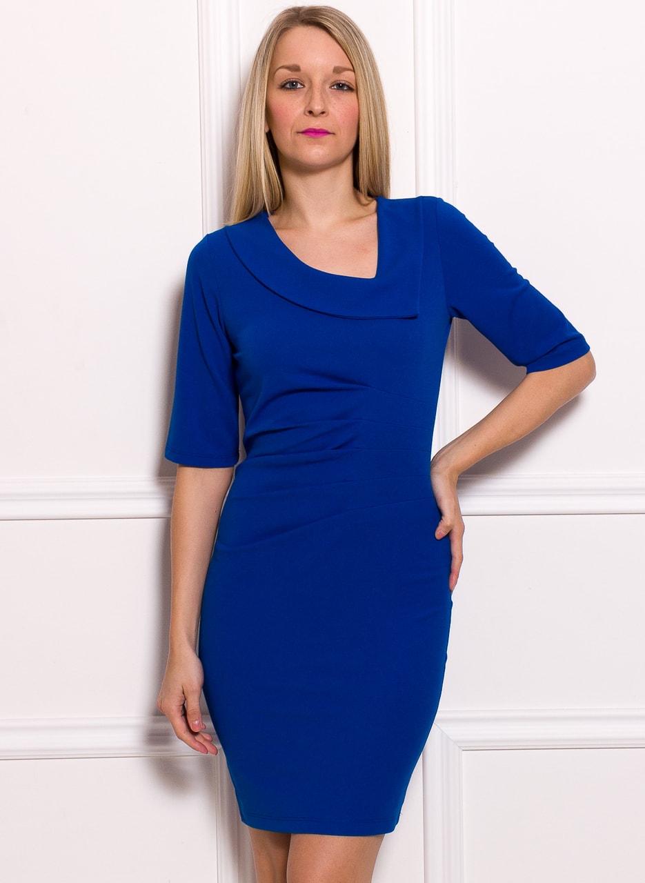 Dámské pouzdrové šaty s rukávem a řasením - královsky modrá ... 9c60921c3d