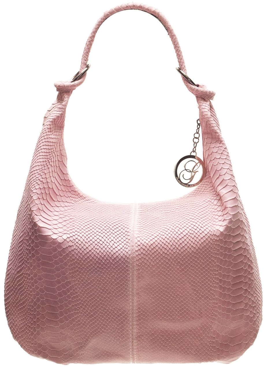 Glamadise.sk - Dámska kožená kabelka s krúžkami had - ružová ... 3987dfdd051