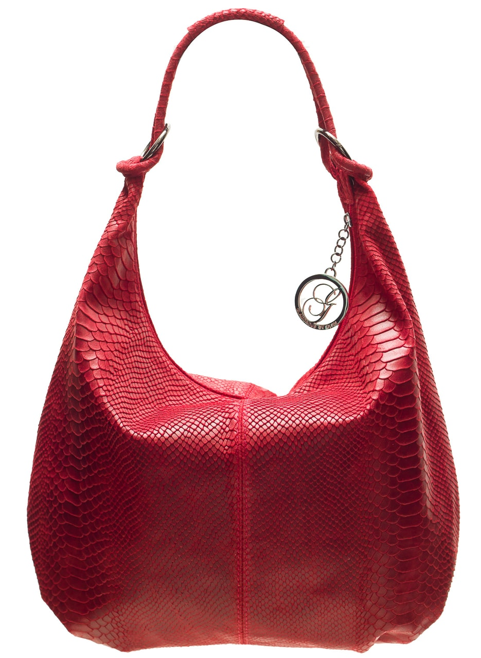Glamadise.sk - Dámska kožená kabelka s kruzky had - vínová ... 52c7db02933
