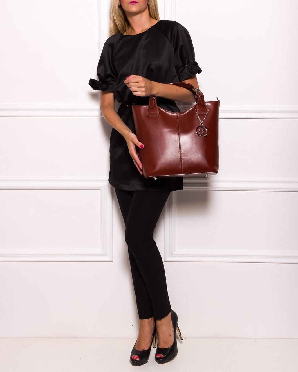 Glamadise.sk - Dámska kožená kabelka do ruky - hnedá - Glamorous by ... 04fc8af23f5