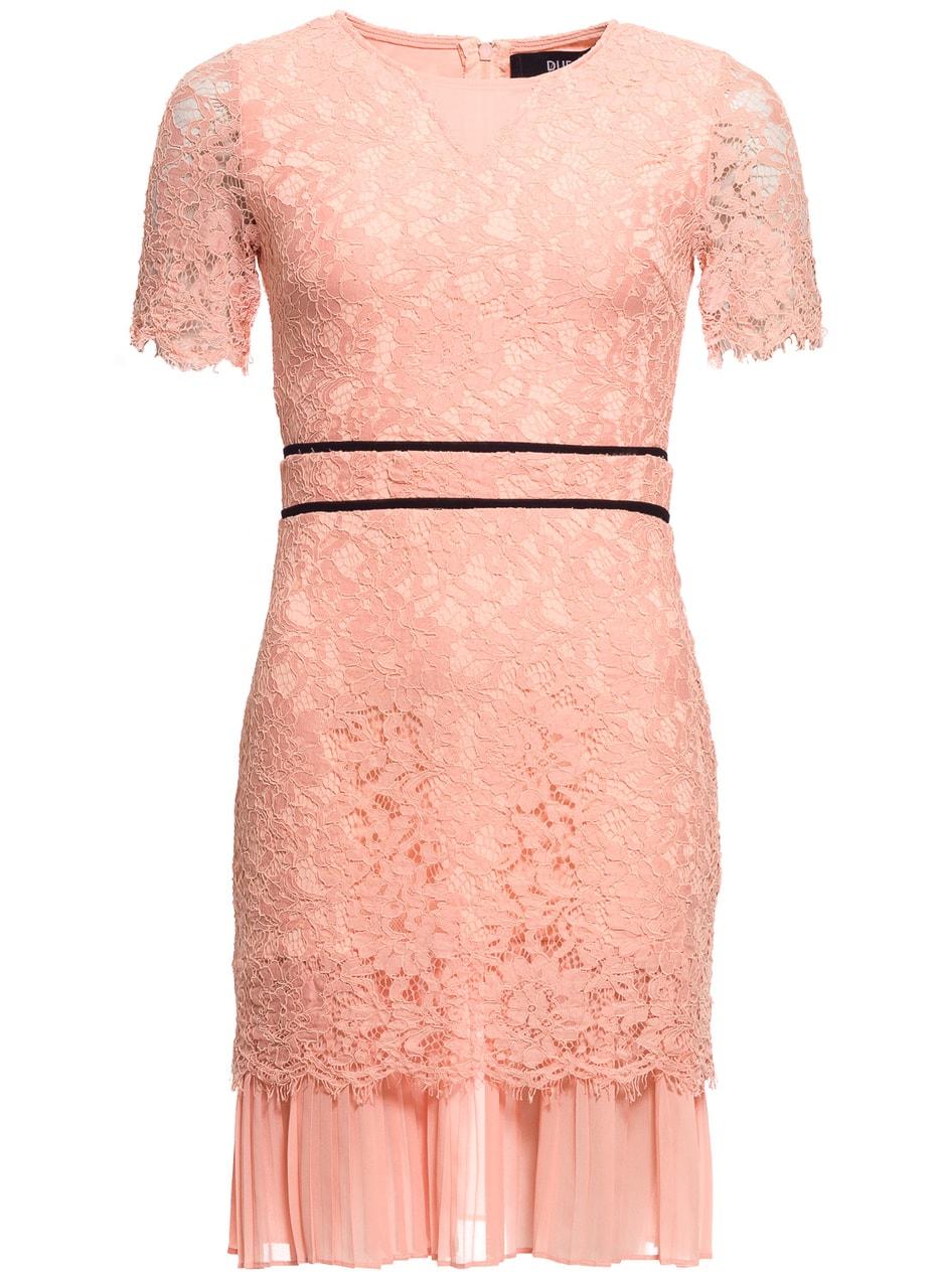 Dámské krajkové šaty s rukávkem a plizováním - světle lososová - Due ... fe2778195f