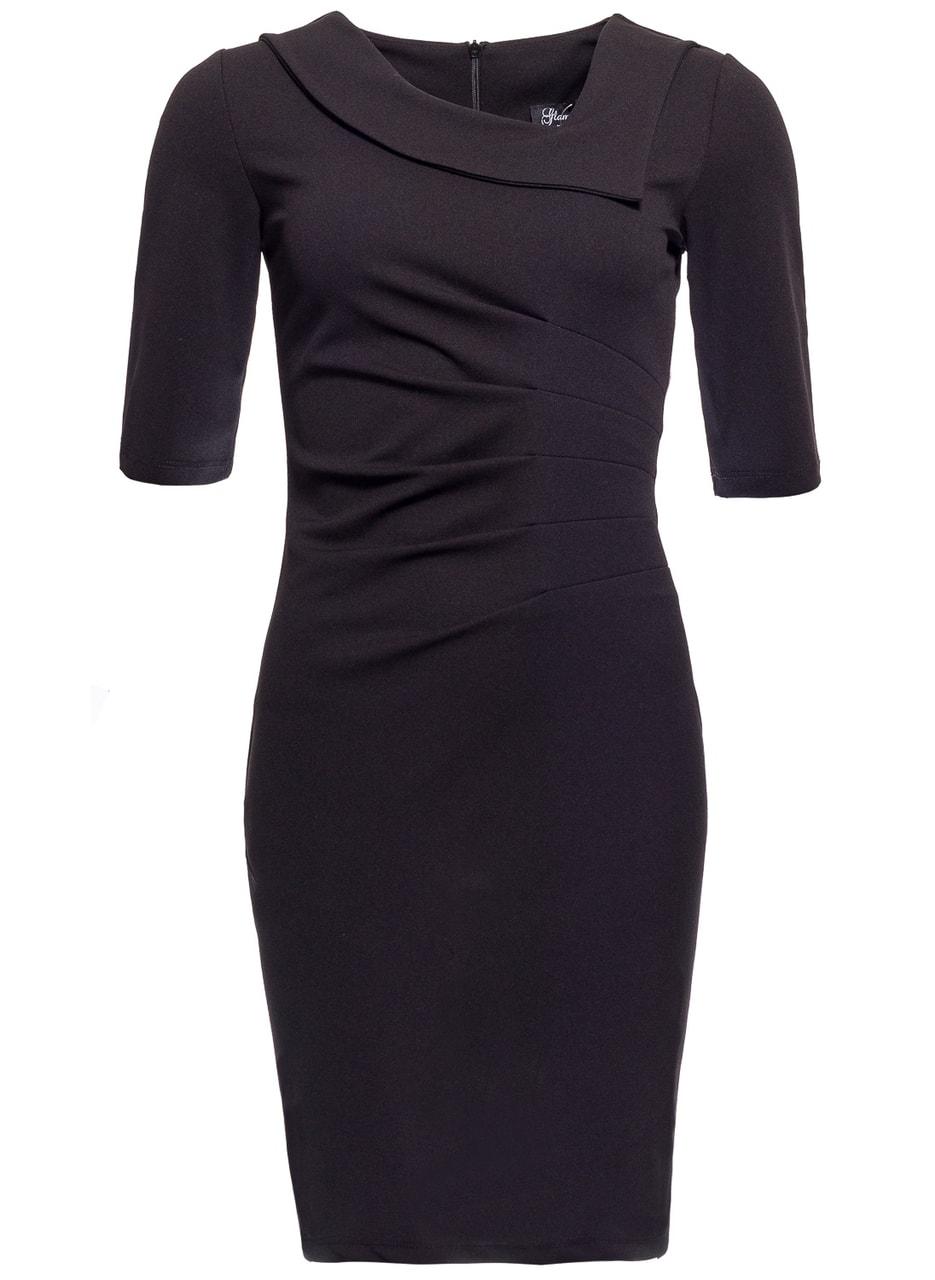 bf566c63a81 Dámské pouzdrové šaty s rukávem a řasením - černá - Glamorous by ...