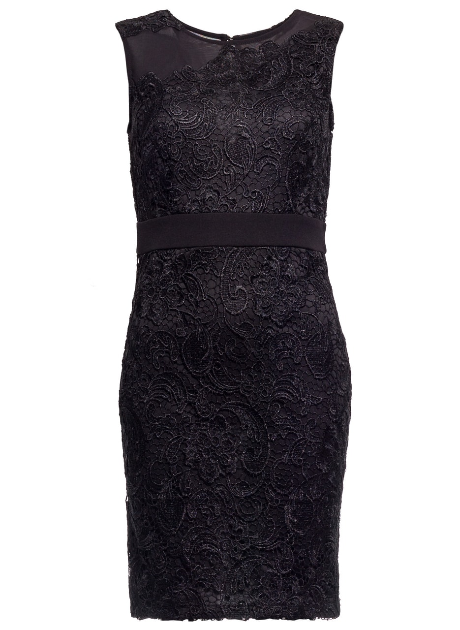 Glamadise.sk - Dámske čierne šaty s čipkou - uply strih - Due Linee ... bb8e774734d