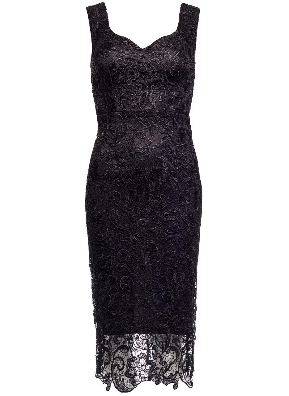 6800b715a012 Glamadise.sk - Dámske luxusné čipkované midi šaty - čierna - Due ...