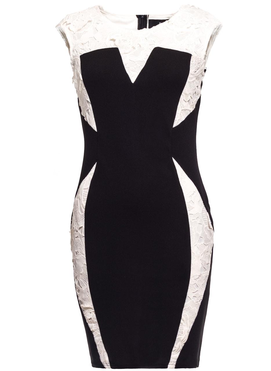 Dámské elegantní šaty černé s bílou krajkou - Due Linee - Každodenní ... ceea12fd28