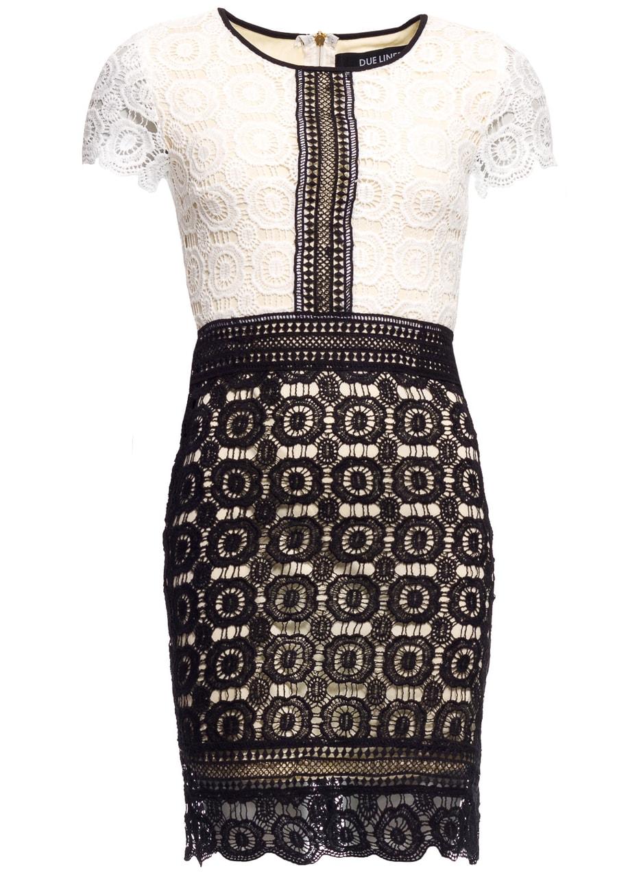 Dámské šaty se vzorem krajky bílo - černé - Due Linee - Každodenní ... 012d382261