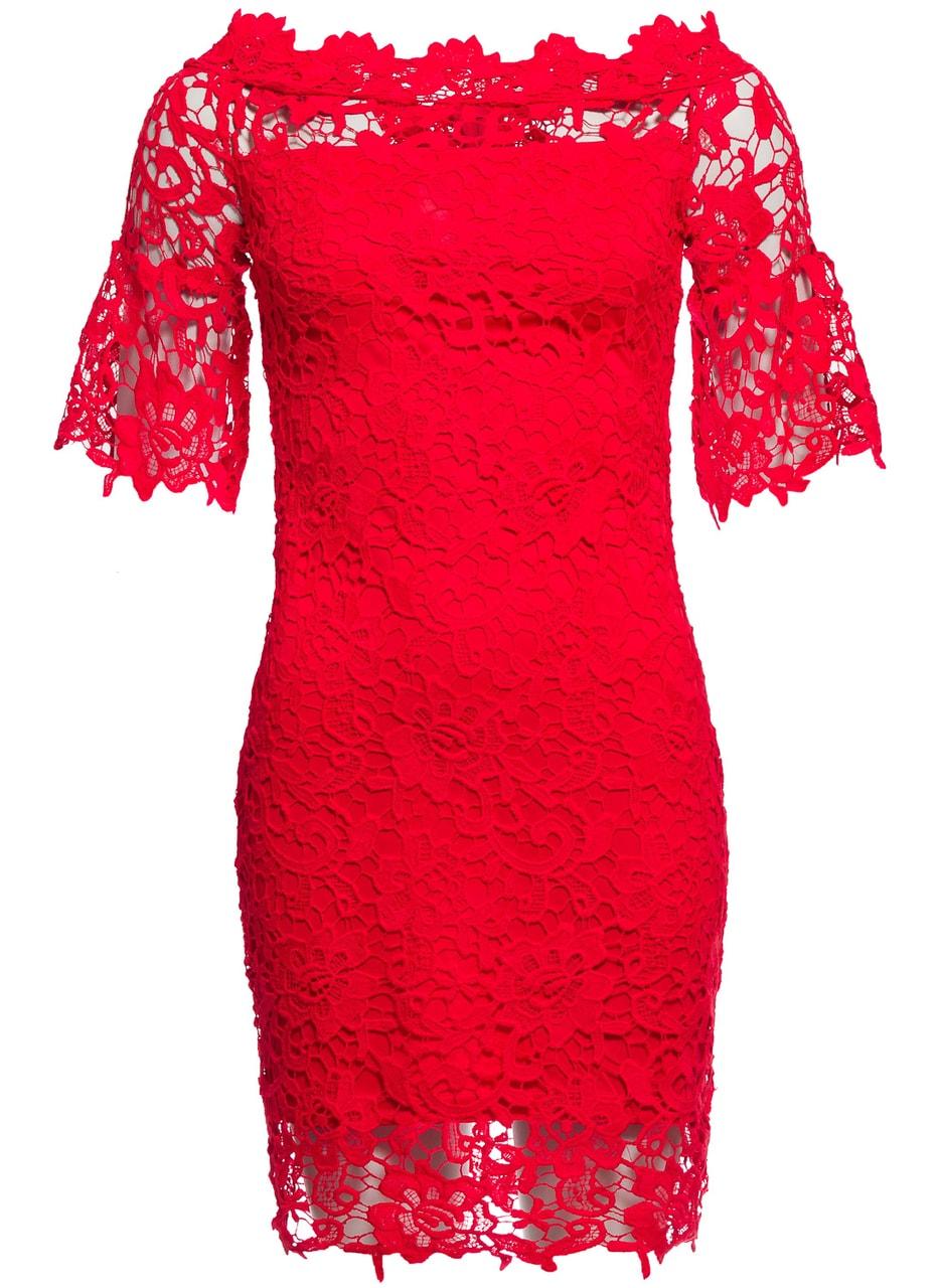 Glamadise.sk - Dámské šaty z krajky a rukávem - červená - Due Linee ... d6b5bf9c687