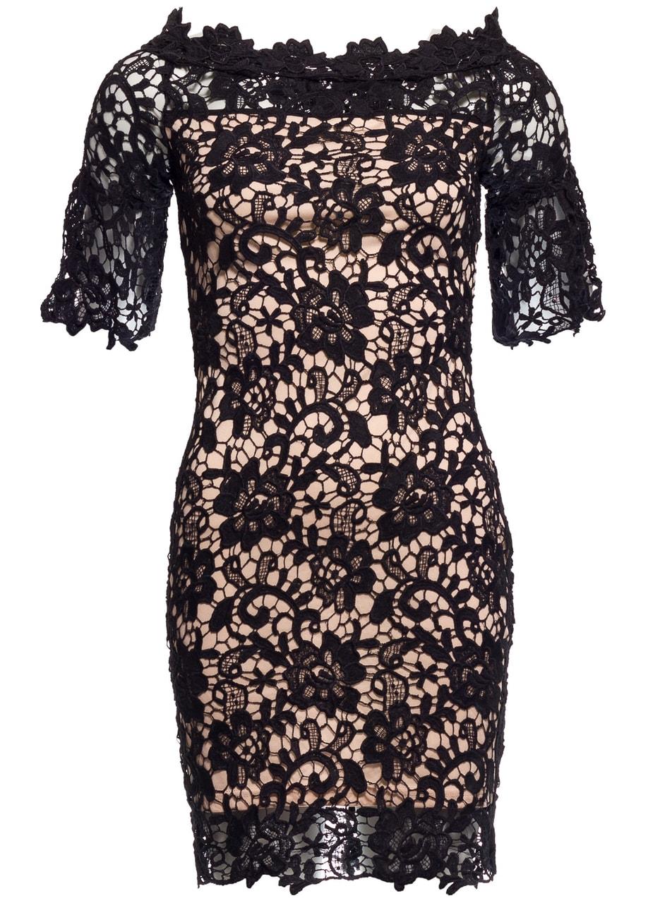 Dámské šaty z krajky a rukávem černo - béžová - Due Linee - Promoce ... 013c6b4321