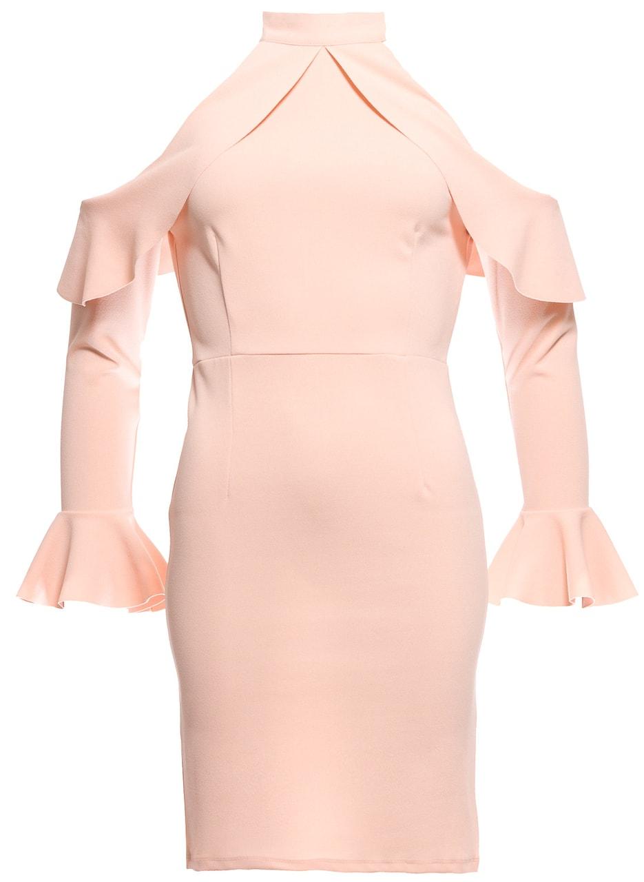 Dámské luxusní šaty s průstřihy na ramenou - růžová - Due Linee ... 4afa1f27b6