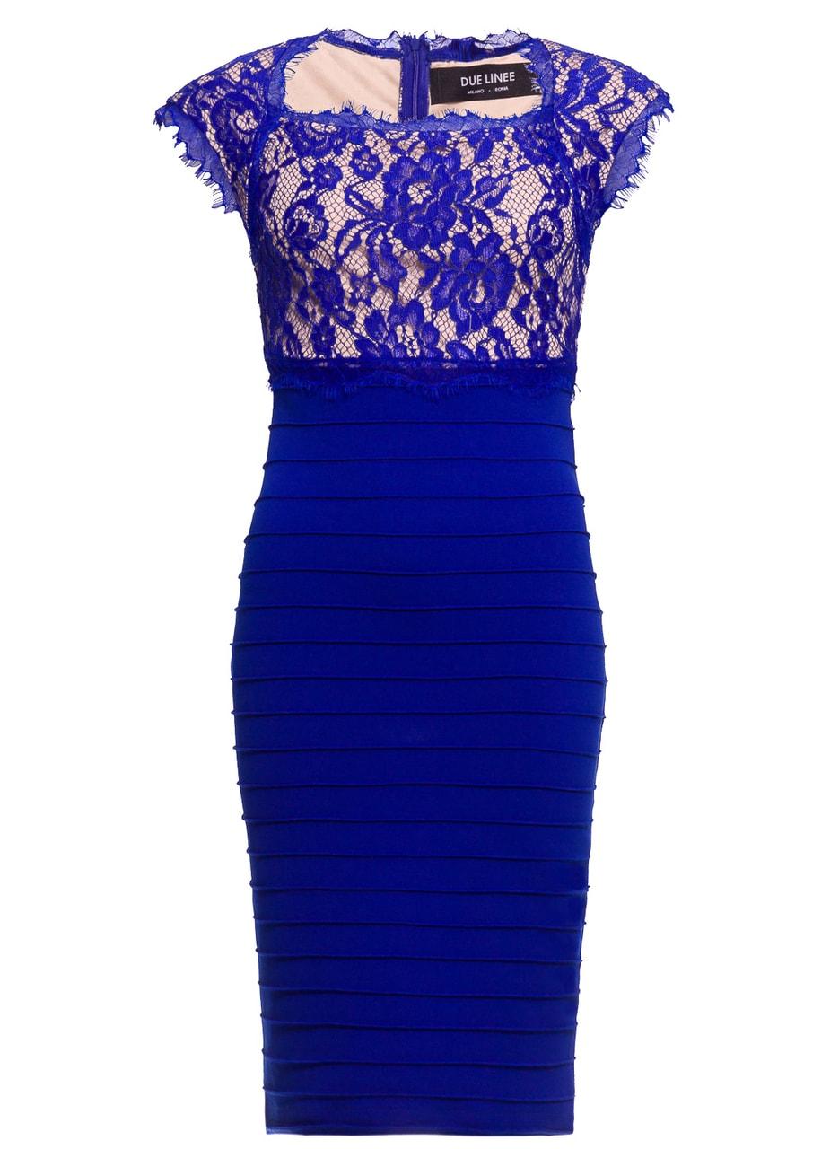 Glamadise.sk - Dámské šaty s krajkou elastické královsky modro ... 33ebc304eac