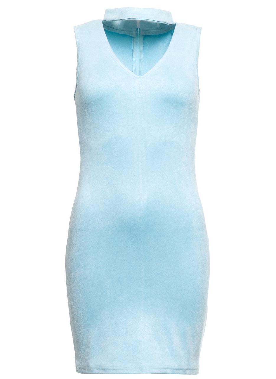 a23f4c3b480 Dámské semišové šaty - světle modrá - Due Linee - Party šaty - Šaty ...