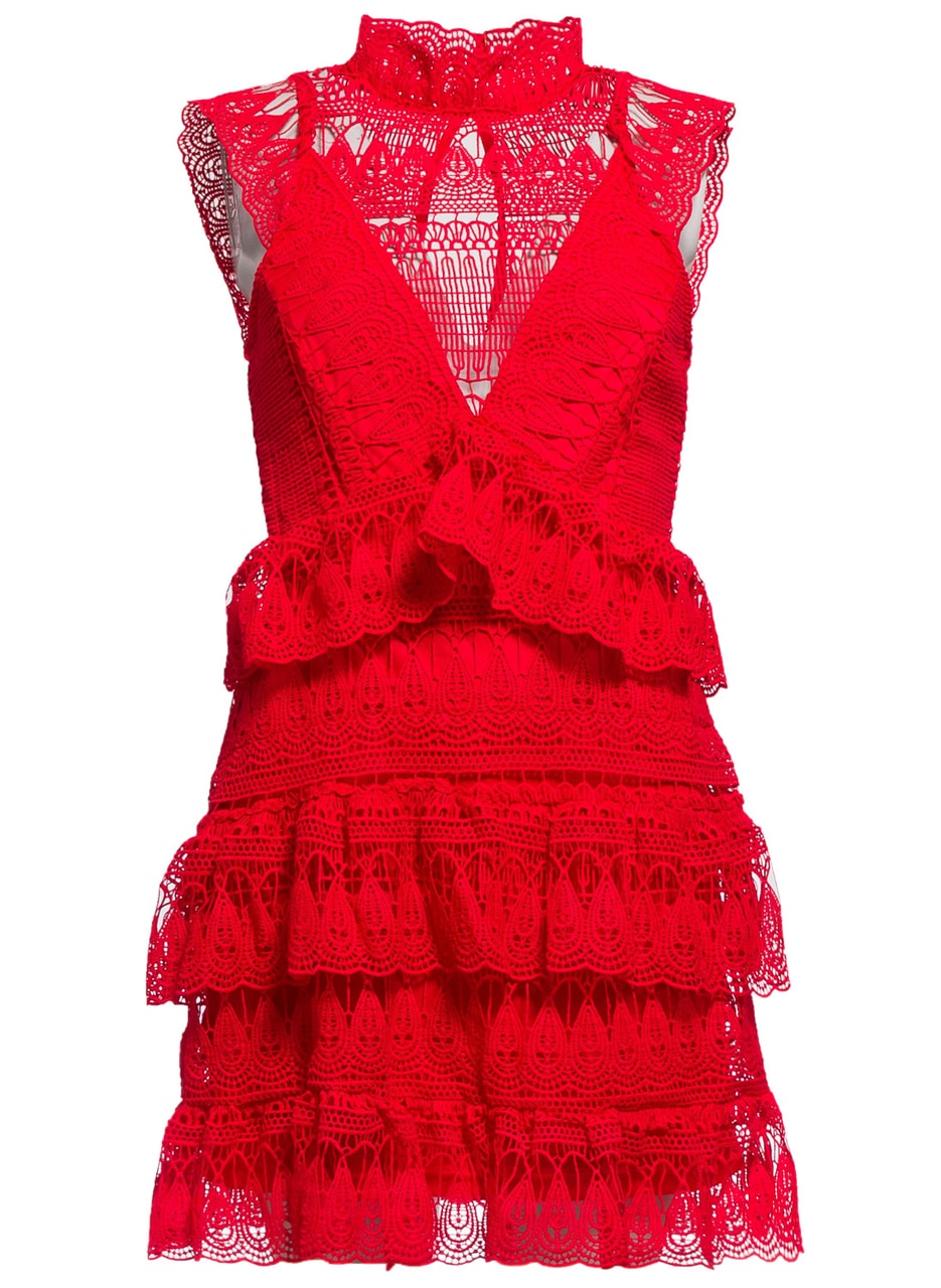 Dámské luxusní krajkové šaty - červená - Due Linee - Promoce a ... f8775afca4