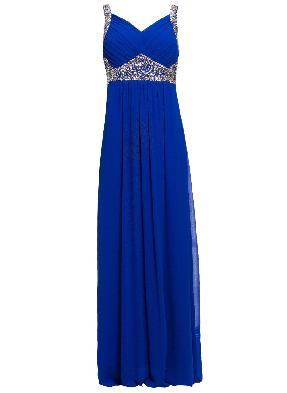Společenské dlouhé šaty se stříbrnými kamínky - královsky modrá ... 18f3372425