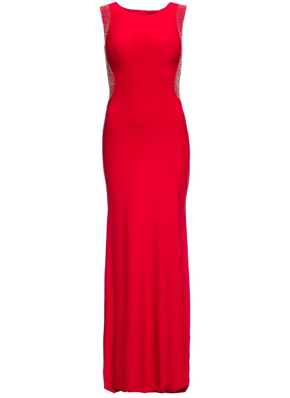 Glamadise.sk - Spoločenské dlhé šaty s korálkami na boku - červená ... 7c38e178bd1