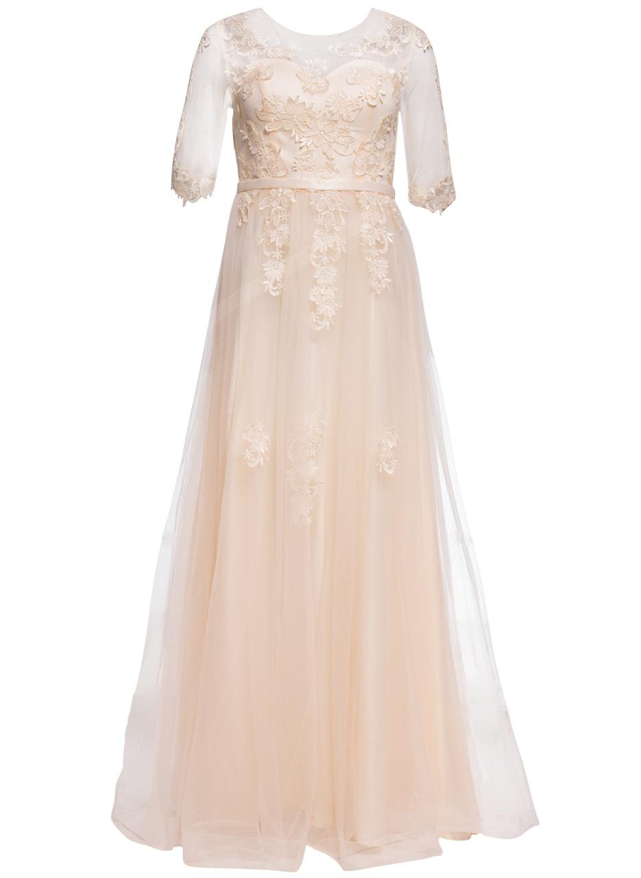 Glamadise.sk - Spoločenské luxusné dlhé šaty s rukávom - champagne ... 01fde1c828d