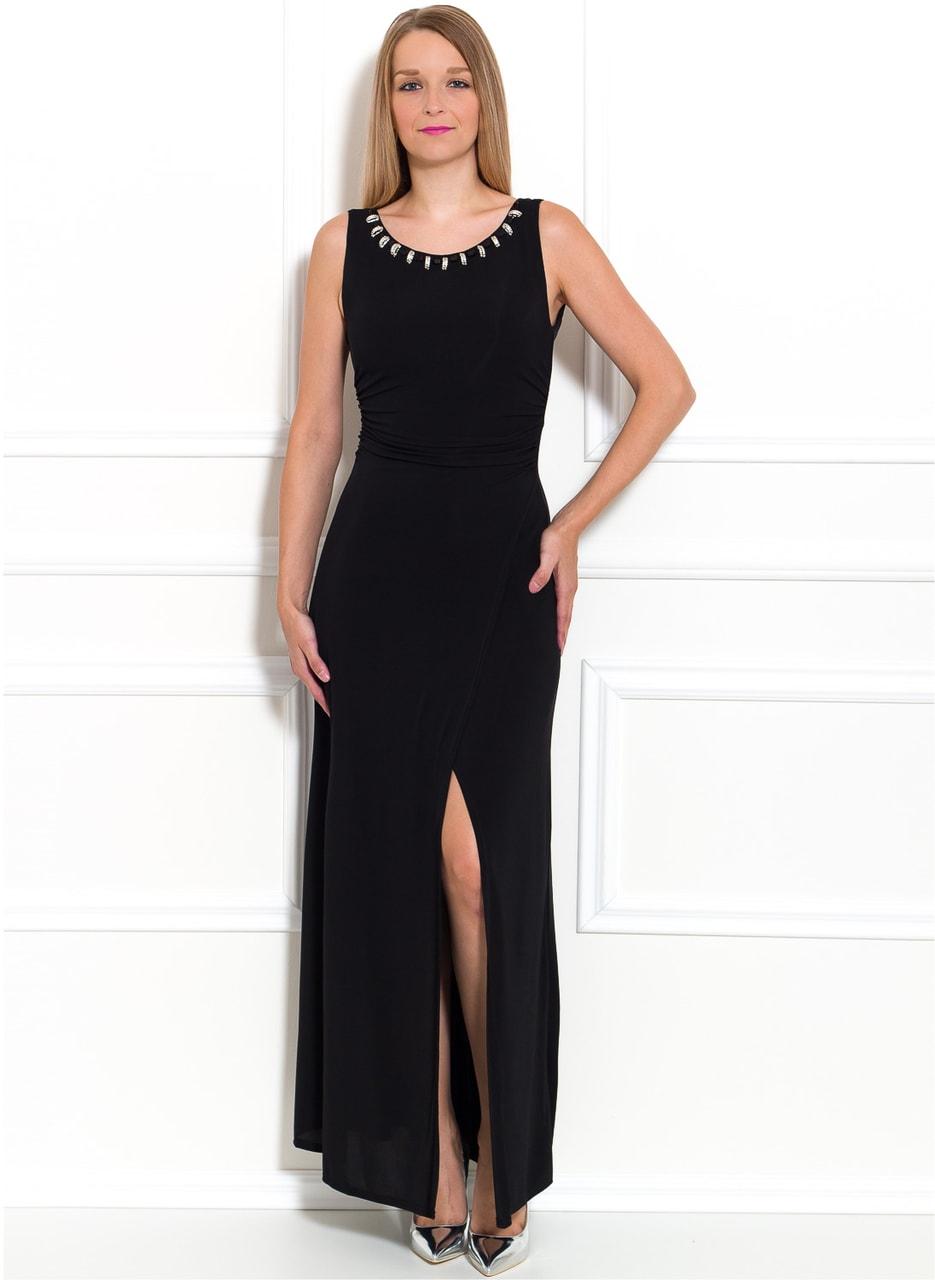 Společenské dlouhé šaty se zlatým zdobením - černá - Due Linee ... defb2b961ad
