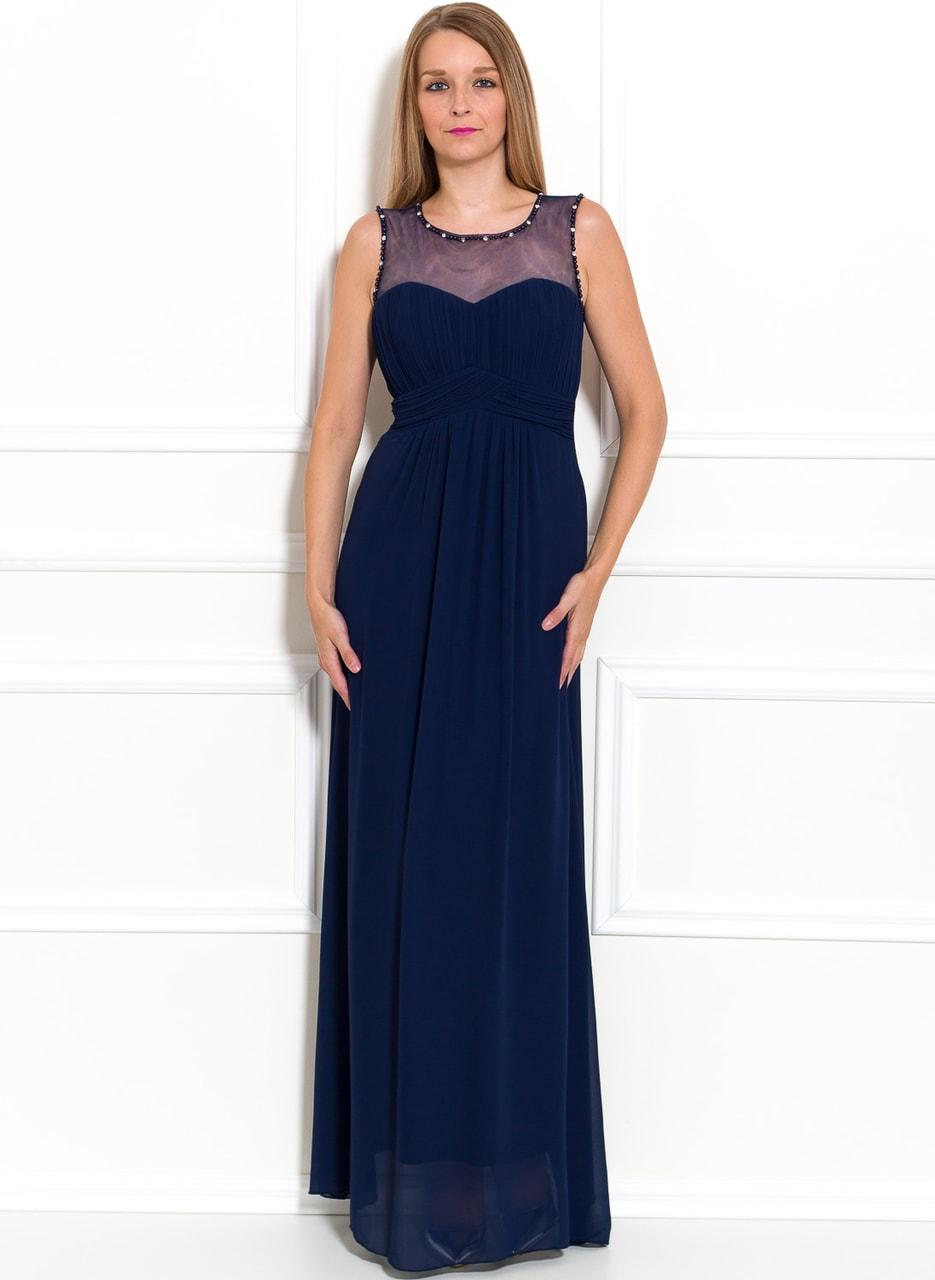 Společenské dlouhé šaty se zdobením a perlami - tmavě modrá - Due ... 73c69aae78