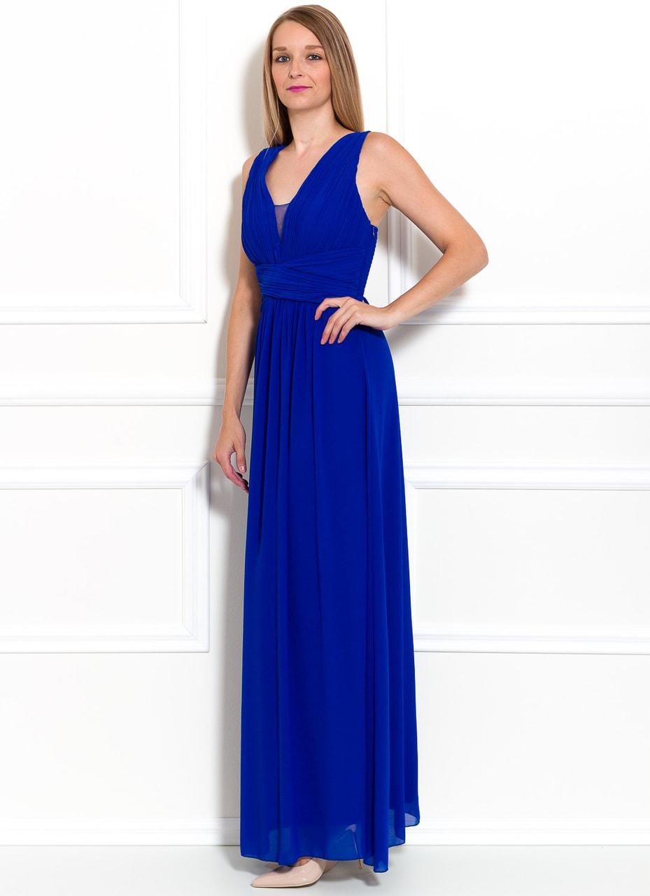 Společenské dlouhé šaty jednoduché skládané - královsky modrá - Due ... a30cdbbe56