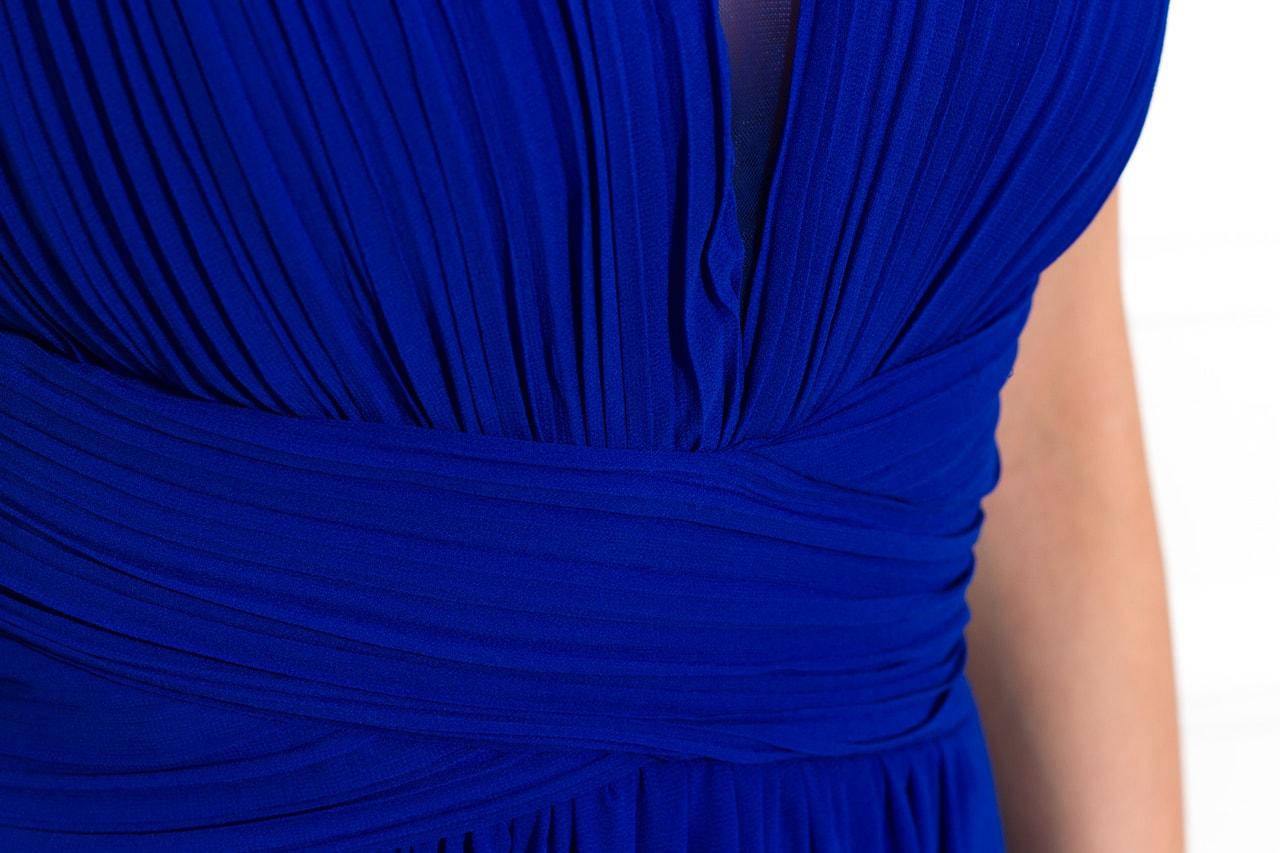 Společenské dlouhé šaty jednoduché skládané - královsky modrá - Due ... 31ede60722