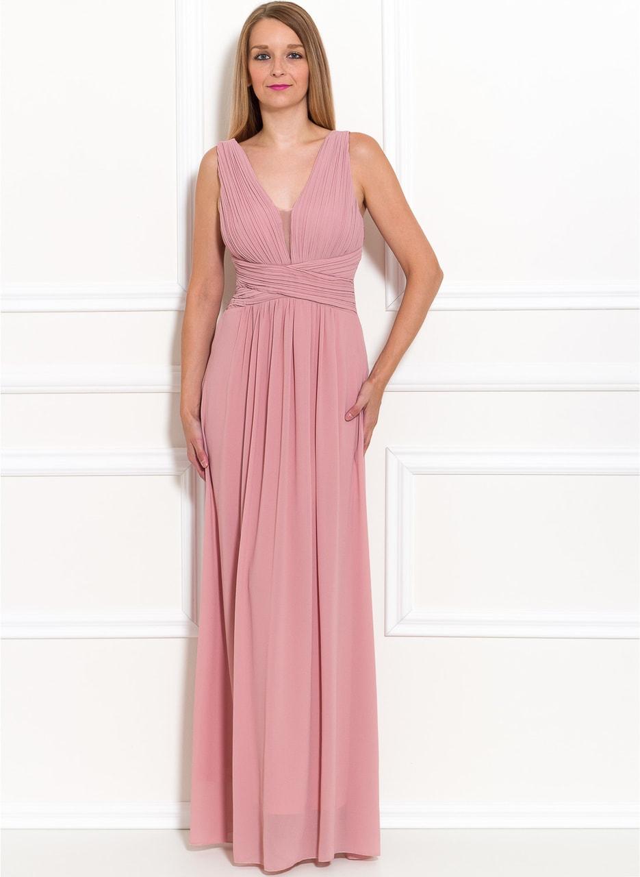 Společenské dlouhé šaty jednoduché skládané - růžová - Due Linee ... abd33ed5e7