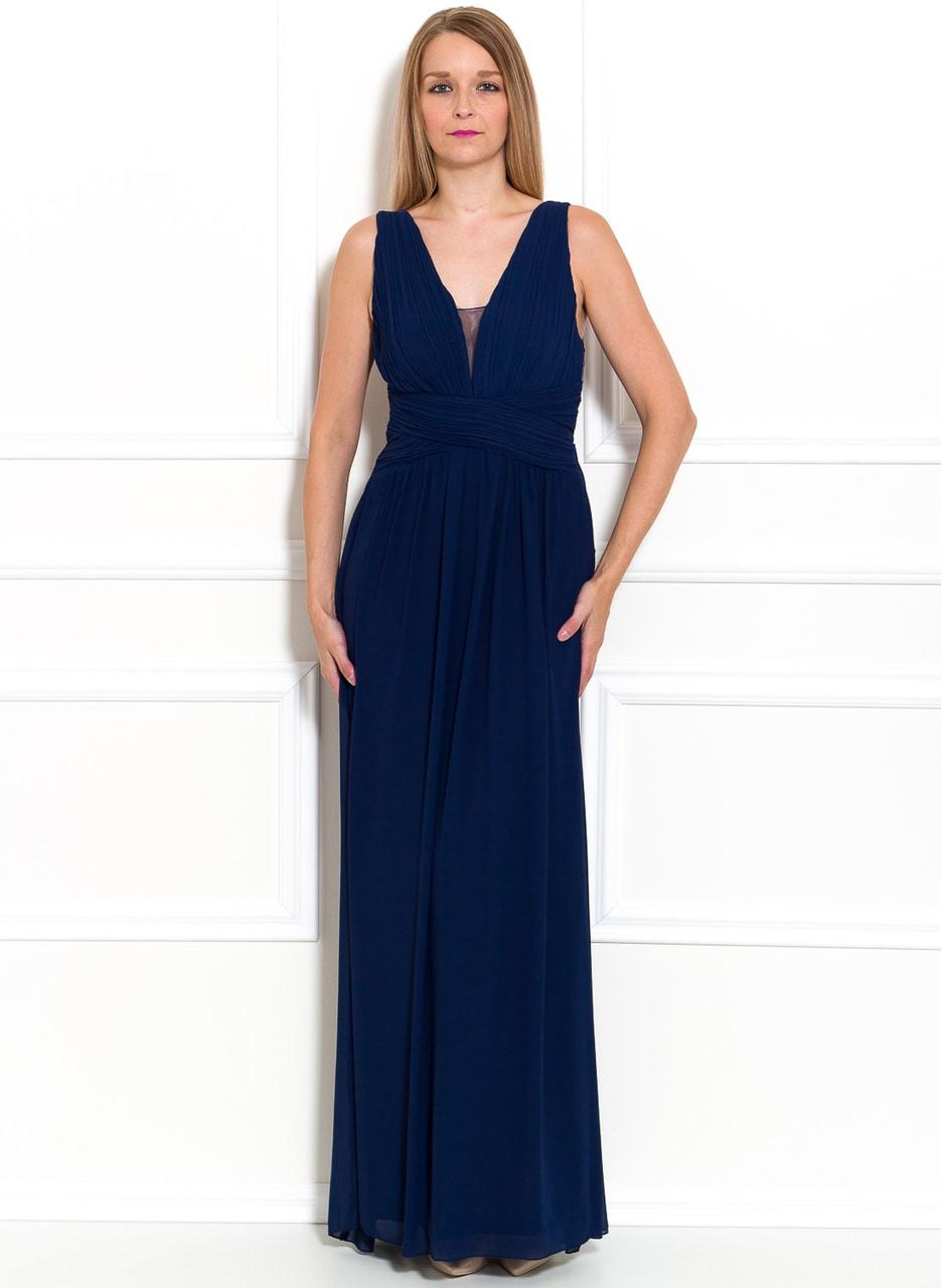 Společenské dlouhé šaty jednoduché skládané - tmavě modrá - Due ... 0167ab983c