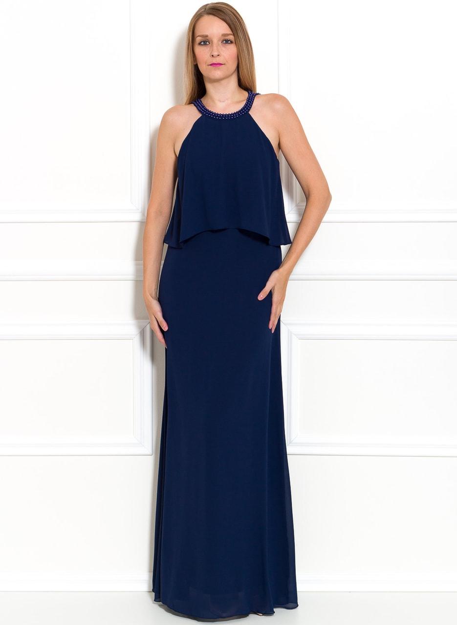 Glamadise.sk - Spoločenské dlhé šaty s perlami - tmavo modrá - Due ... 0b5124580cf