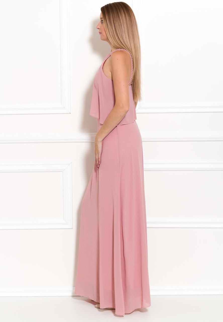 Společenské dlouhé šaty s perlami - růžová - Due Linee - Last chance ... ea810ad728