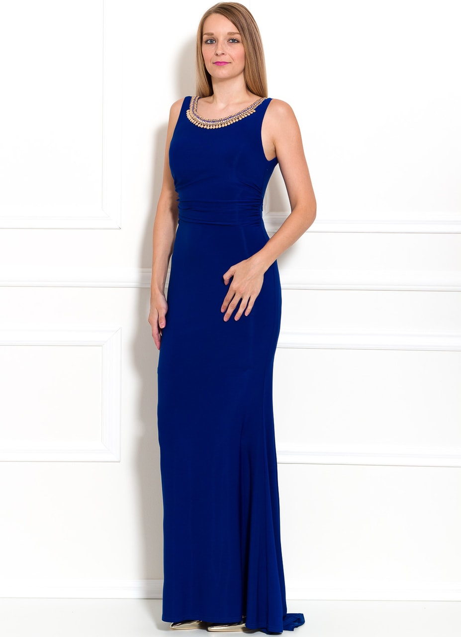 Glamadise.sk - Spoločenské dlhé šaty s náhrdelníkom - modrá - Due ... 1fa654104c8