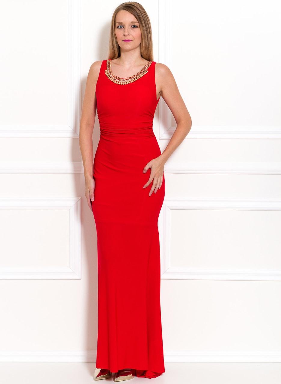 Glamadise.sk - Spoločenské dlhé šaty s náhrdelníkom - červená - Due ... 1a65b5b5abe