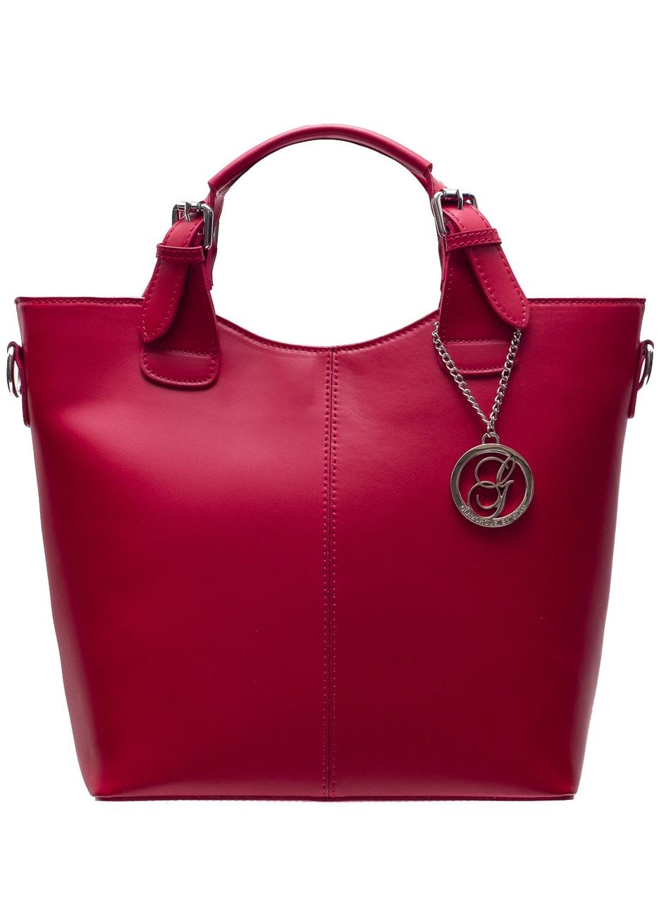 Glamadise.sk - Dámska kožená kabelka do ruky matná - červená ... 1f6bf1eba2e
