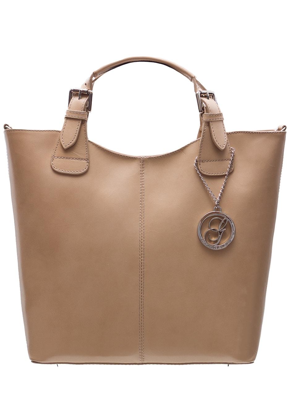 Dámská kožená kabelka do ruky - béžová - Glamorous by GLAM - Do ruky ... d56a6f3cfbd