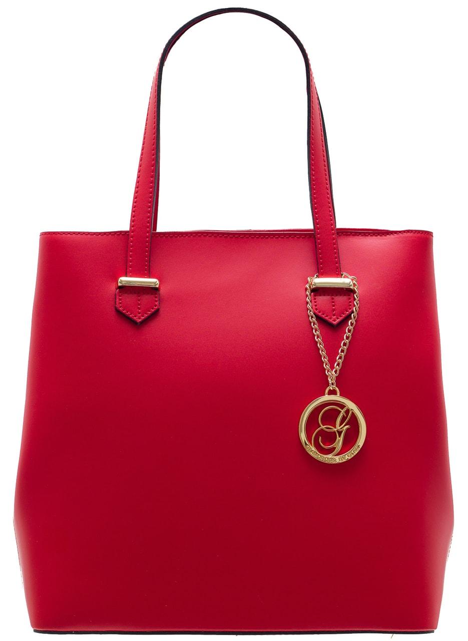 Glamadise.sk - Dámska kožená kabelka s cvokmi po strane - červená ... 0eee84077b1