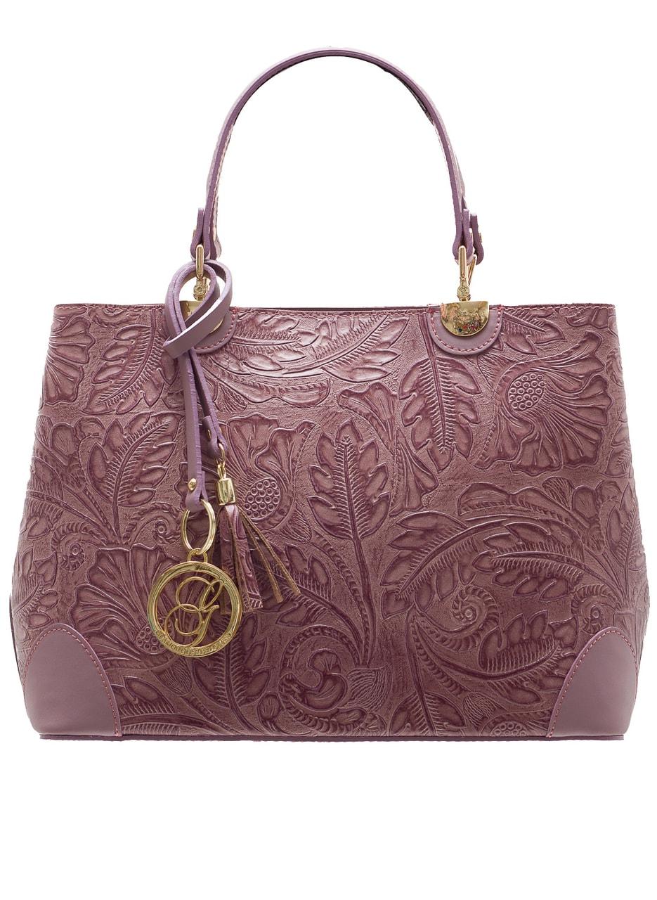 e2fb3ff705e Dámská kožená kabelka ražená s květy - staro růžová - Glamorous by ...
