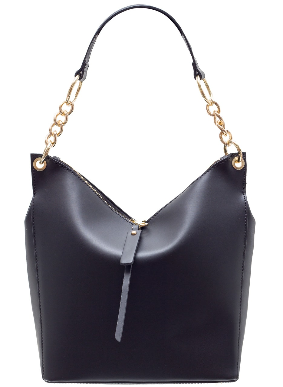 Glamadise.sk - Dámska kožená kabelka s Retiazka cez rameno - čierna ... 42ee3fbbf93