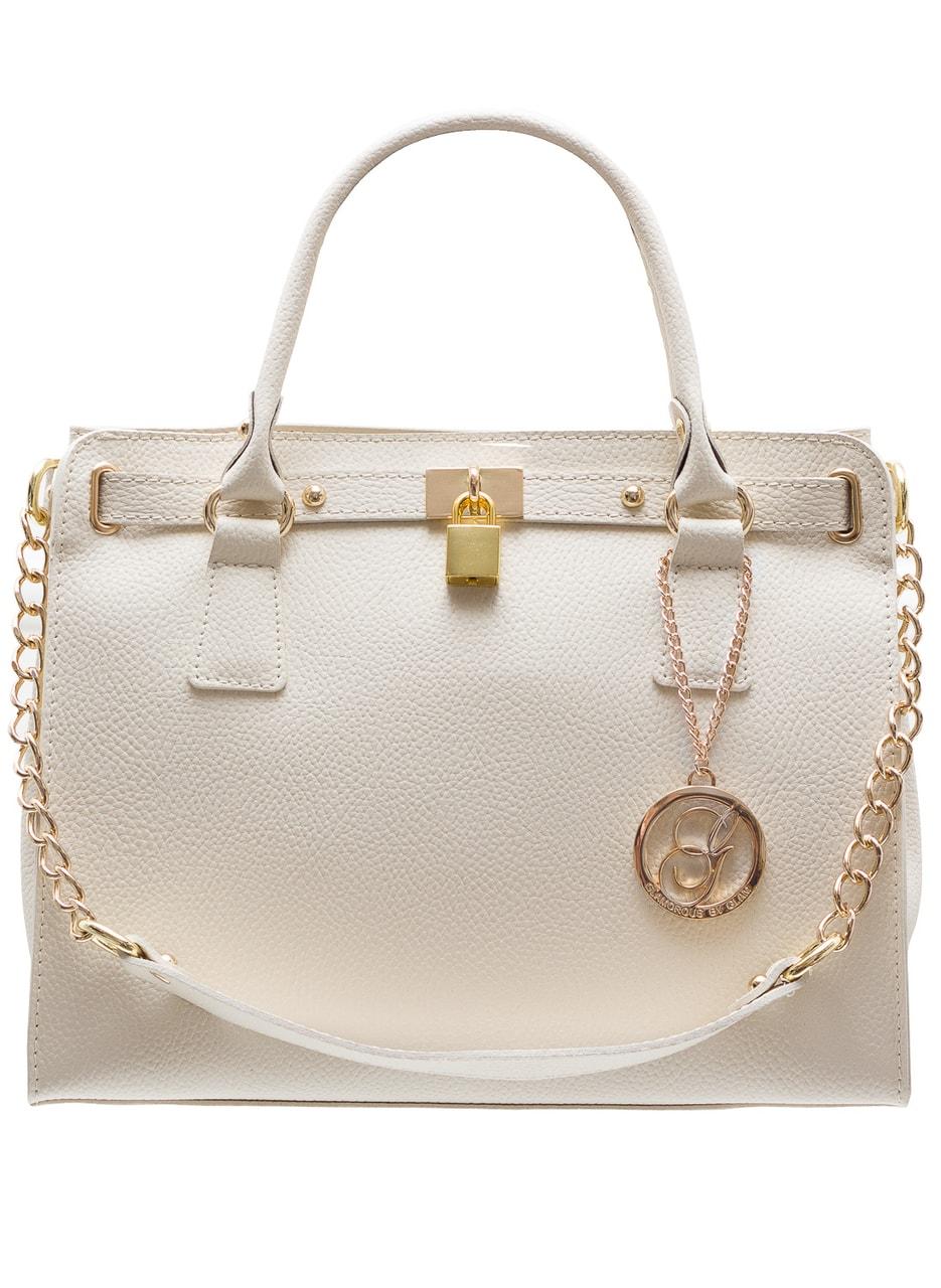 Dámská kožená kabelka se zámkem a řetízkem - béžová - Glamorous by ... 14ebdd9f91e