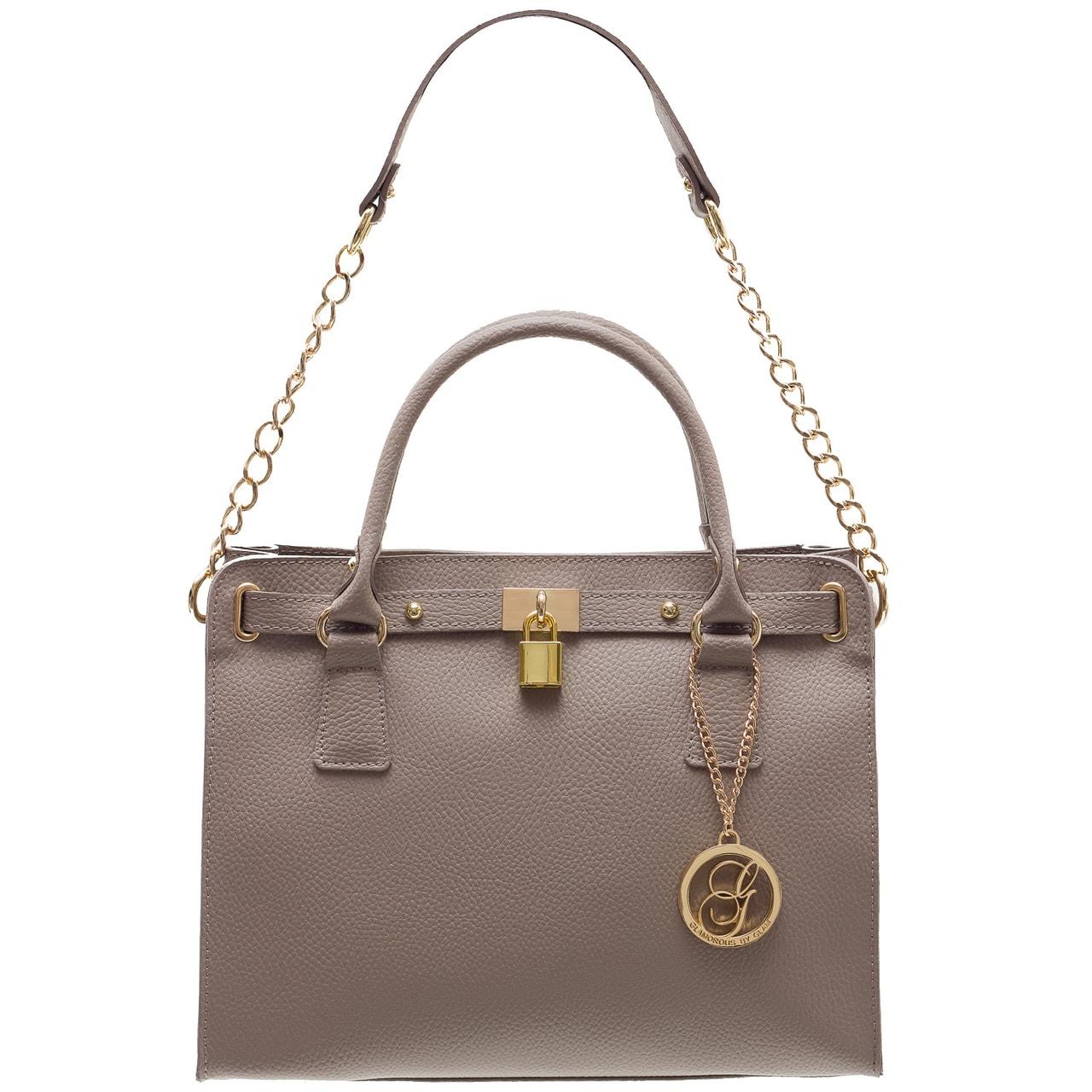 Dámská kožená kabelka se zámkem a řetízkem - šedo béžová - Glamorous ... 60bd2f49cf8