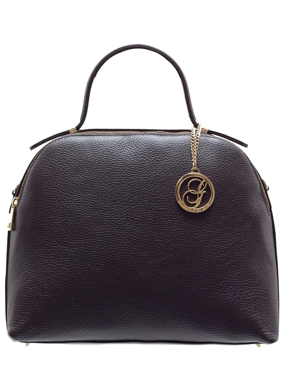 Glamadise.sk - Dámska kožená kabelka 2 zipsy - temne hnedá ... 8038fbb91a5
