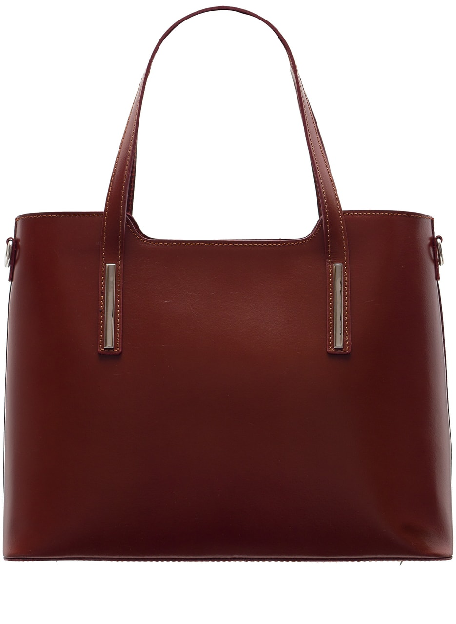 Glamadise.sk - Dámska kožená kabelka pevná so strieborným zdobením ... 0faeb7d1395